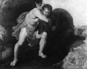 David vecht met een beer (1 Sam.17: 34-35)