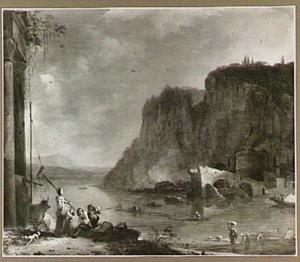 Zuidelijk rivierlandschap met de ruïne van een brug
