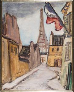 Steeg met blik op de Eiffeltoren (rue Copreau)