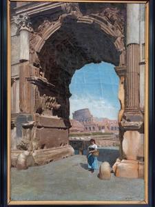 Gezicht op de Titusboog en het Colosseum te Rome