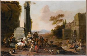 Rustend jachtgezelschap bij een fontein in een zuidelijk landschap