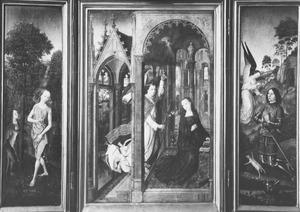 De verzoeking van Eva (binnenzijde links), de annunciatie (midden), Gideon met het vlies (Richteren 6:37-40; binnenzijde rechts); De HH. Thomas van Aquino en Jacobus de Meerdere (buitenzijde links en rechts)