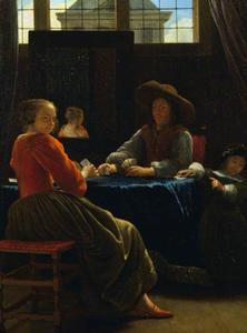 Kaartspelers in een interieur