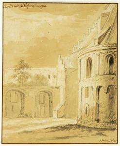 Tweede binnenplaats van het Valkhof met de absis van de Sint-Maartenskapel