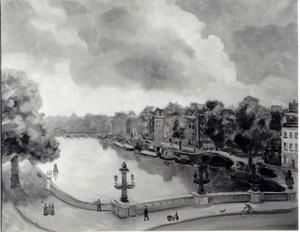 De Amstel in Amsterdam, met op de voorgrond the Blauwbrug en op de achtergrond de Magere Brug