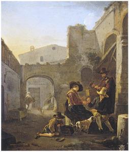 Morraspelers in een Italiaanse straat