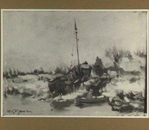 Sneeuwlandschap met boot op de wal