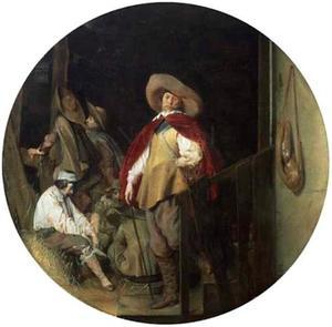 Een officier en soldaten in een wachtlokaal