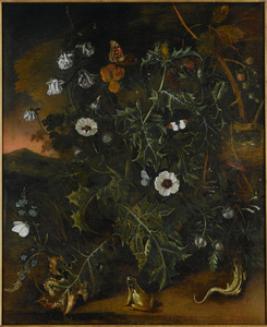Bosstilleven met bloemen, vlinders, een kikker, een hagedis en een vogelnest
