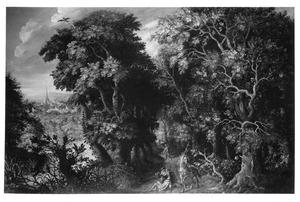 Boslandschap met de barmhartige Samaritaan, die de gewonde reizger verzorgt  (Lucas 10:25-37)