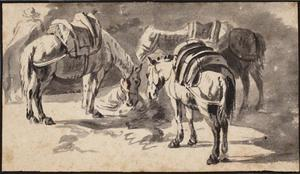 Drie gezadelde paarden
