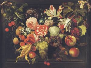 Guirlande van vruchten en bloemen in een stenen nis