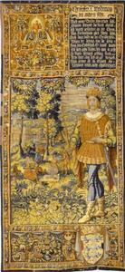 Christoffer I (1219-1259) met een vrolijk gezelschap op de achtergrond