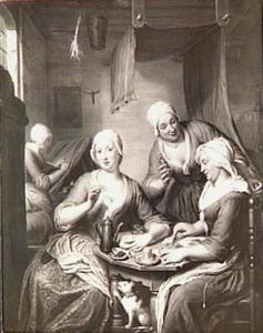 Middagmaal in een naaiatelier