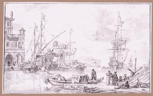 Capriccio van een Italiaans havengezicht