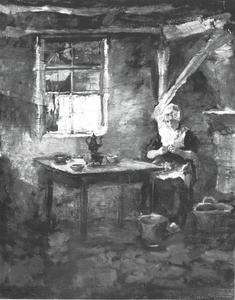Farm interior with woman peeling potatoes