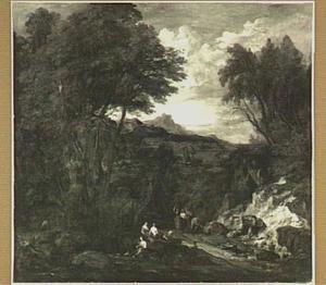 Heuvellandschap met figuren in bos