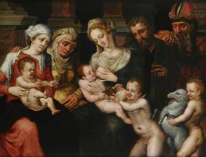 Heilige familie met Johannes de doper,  Elisabeth en Zacharias