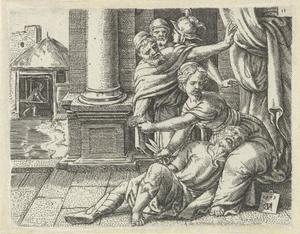 Terwijl Simson slaapt in haar schoot, knipt Delila zijn haar af (Richteren 16:19)
