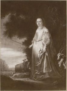 Portret van een vrouw in arcadisch kostuum