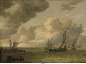 Zeilschepen aan een riviermonding