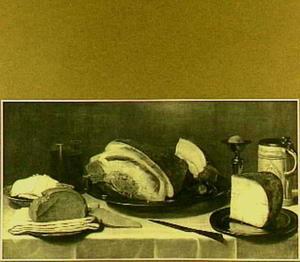 Stilleven met brood, ham en kaas