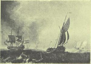 Zeilschepen op een woelige zee