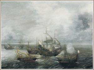 Gevecht tussen twee fregatten en vier galeiën