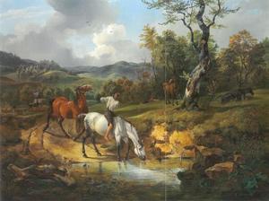 Heuvellandschap met een jongen met paarden in een paardenwed