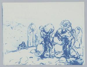 Jacob en Laban verzamelen stenen te Gal-Ed (Genesis 31:46-47)