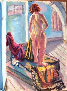 Staand poserend  vrouwelijk naakt, op de rug gezien