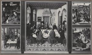 De inzameling van het manna en het Joodse Paasfeest (binnenzijde links), Het laatste avondmaal (midden), De ontmoeting van Abraham en Melchisedek en Elia door de engel gewekt (1 Koningen 19:5-6)  (binnenzijde rechts)