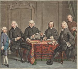 Groepsportret van de regenten van het Leprozenhuis te Amsterdam, 1761