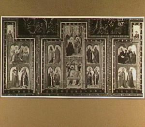 De kroning van Maria (boven), Christus als Man van Smarten (onder) en heiligen (De Norfolktriptiek)