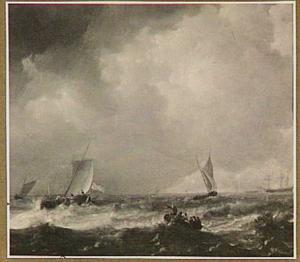 Schepen op onrustige zee met in de voorgrond een roeibootje