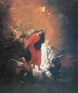 Christus gedragen door engelen