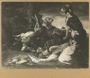 Jachtbuit van gevogelte en een haas met twee honden