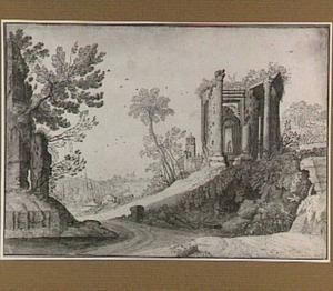 Fantasielandschap met tempel van de sibylle en kerk uit Tivoli