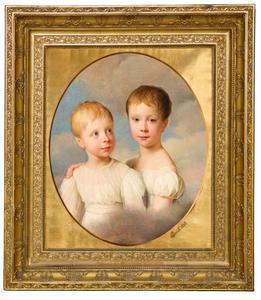 Portret van Anna Louisa van Loon (1820-1898) en Constance Cornelie van Loon (1821-1911)