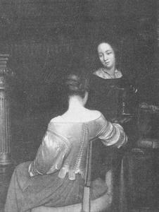 Jonge vrouw met haar dienstmeid