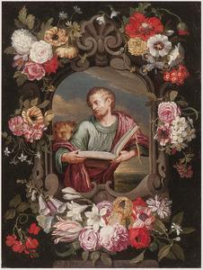 De H. Marcus in een gebeeldhouwde cartouche met bloemen