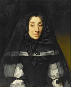Portret van een vrouw met een huik