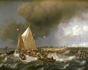 Schepen bij een opkomende storm met de kerk van Zandvoort