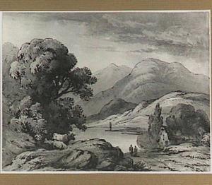 Berglandschap met rivier en twee koeien