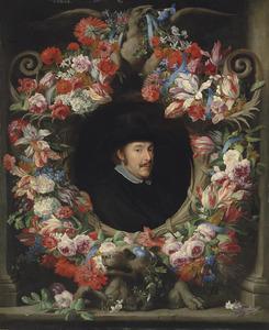 Bloemenkrans rond een cartouche met daarin een mansportret
