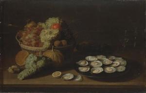 Stilleven met vruchten en oesters