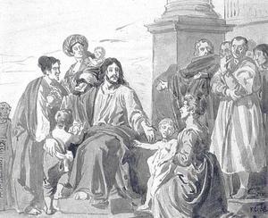Christus zegent de kinderen: 'laat de kinderen tot mij komen'