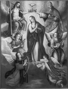 Kroning van Maria door de H. Drieëenheid met vier musicerende engelen