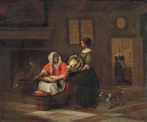 Keukeninterieur met twee vrouwen die voedsel bereiden