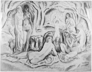 Boslandschap met badende vrouwen
